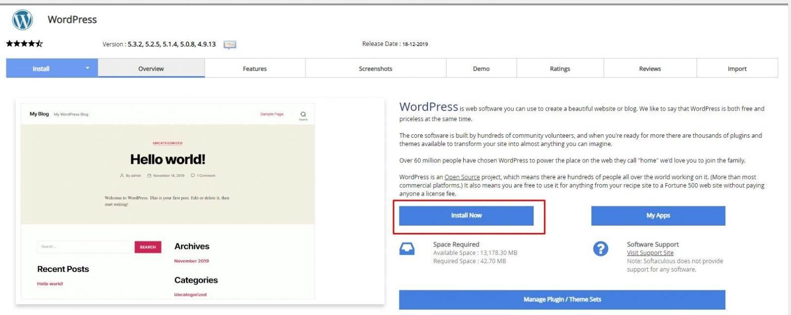 installnow wordpress