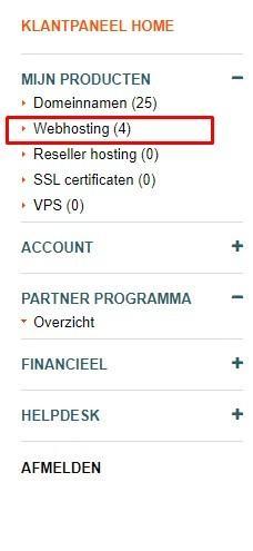 webhosting menu