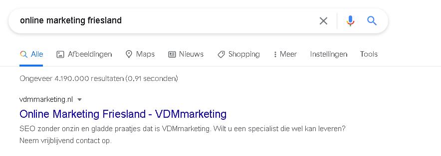 Resultaat hoger in Google VDMmarketing 1