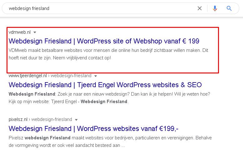 Resultaat hoger in Google VDMmarketing 2