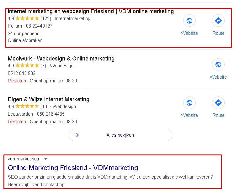 Resultaat internetmarketing Friesland nummer 1 in Google